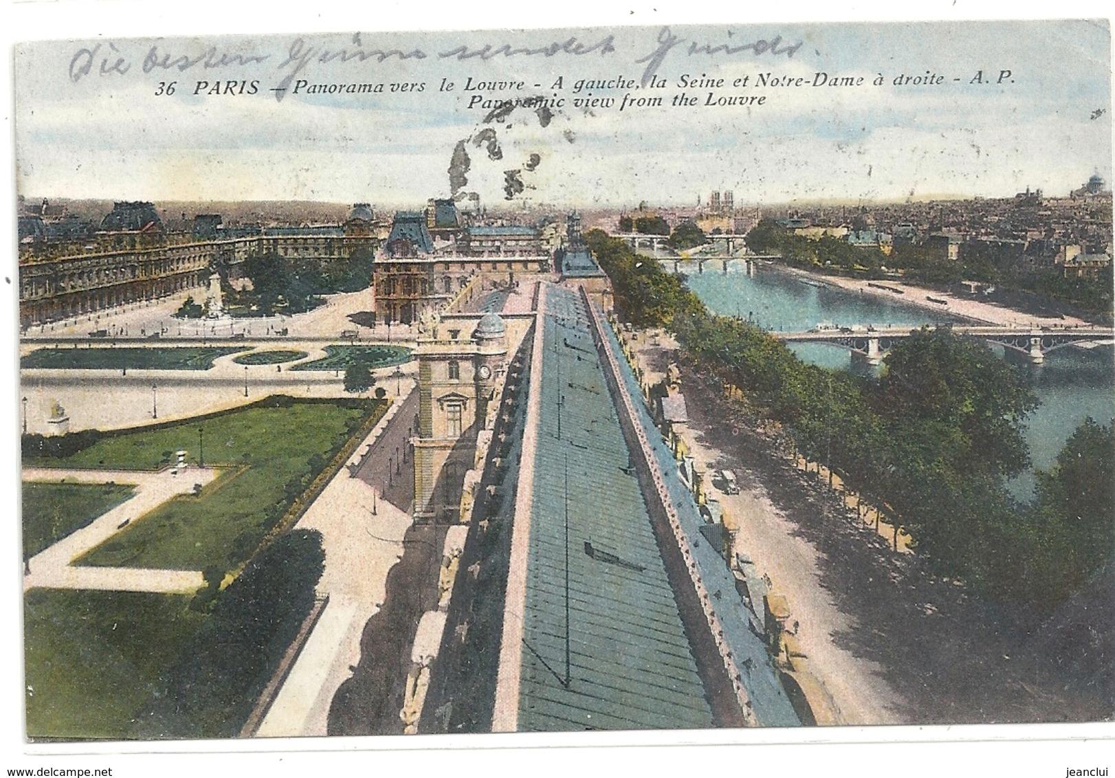 PARIS . PANORAMA VERS LE LOUVRE . A GAUCHE LA SEINE ET NOTRE-DAME A DROITE . AFFR AU VERSO . 2 SCANES - La Seine Et Ses Bords