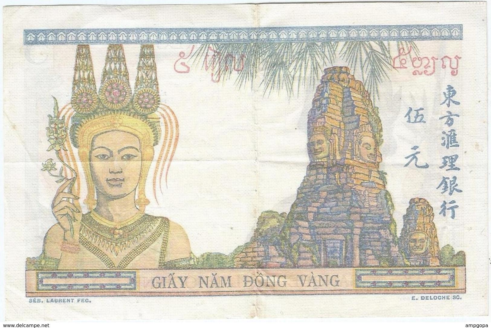 Indochina - Indochine 5 Rupees 1936 Pk 55 C Texto En Lao Antiguo, Valor Sobre Fondo Blanco En Anverso, Firma 1 - Indochina