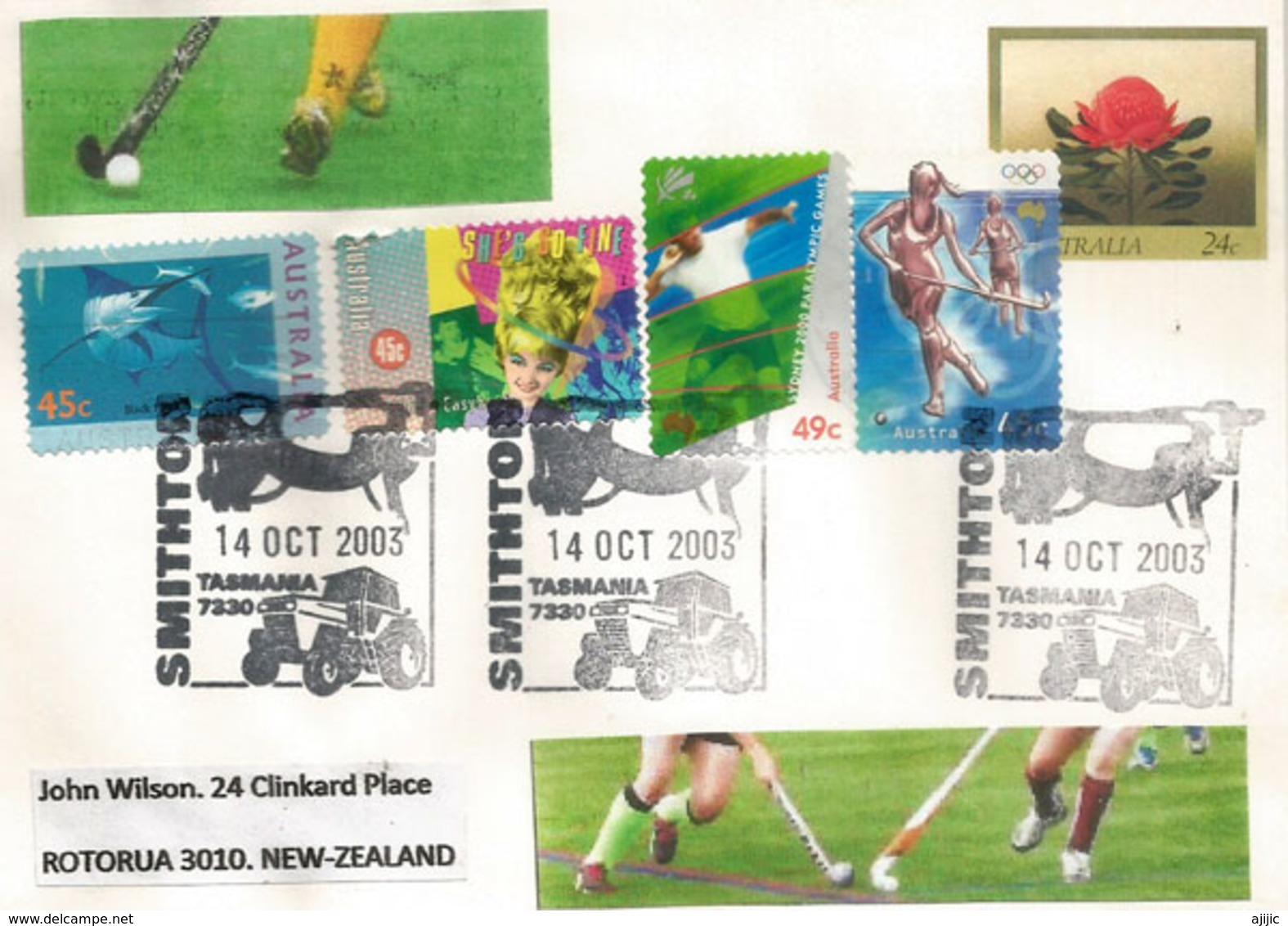 Field Hockey Passion In Australia ! Stamp Year 2000 Australia (Smithon.Tasmania), Letter Sent To New-Zealand. - Hockey (sur Gazon)