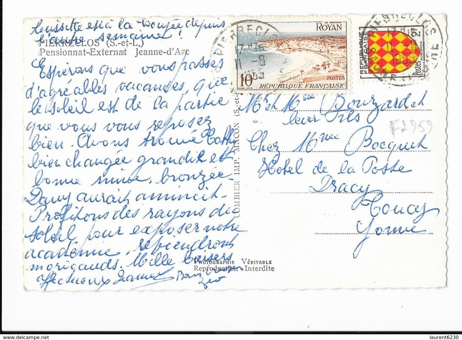 Pierreclos - Pensionnat-Externat Jeanne D'Arc - édit. C.I.M. Combier Macon  + Verso - France