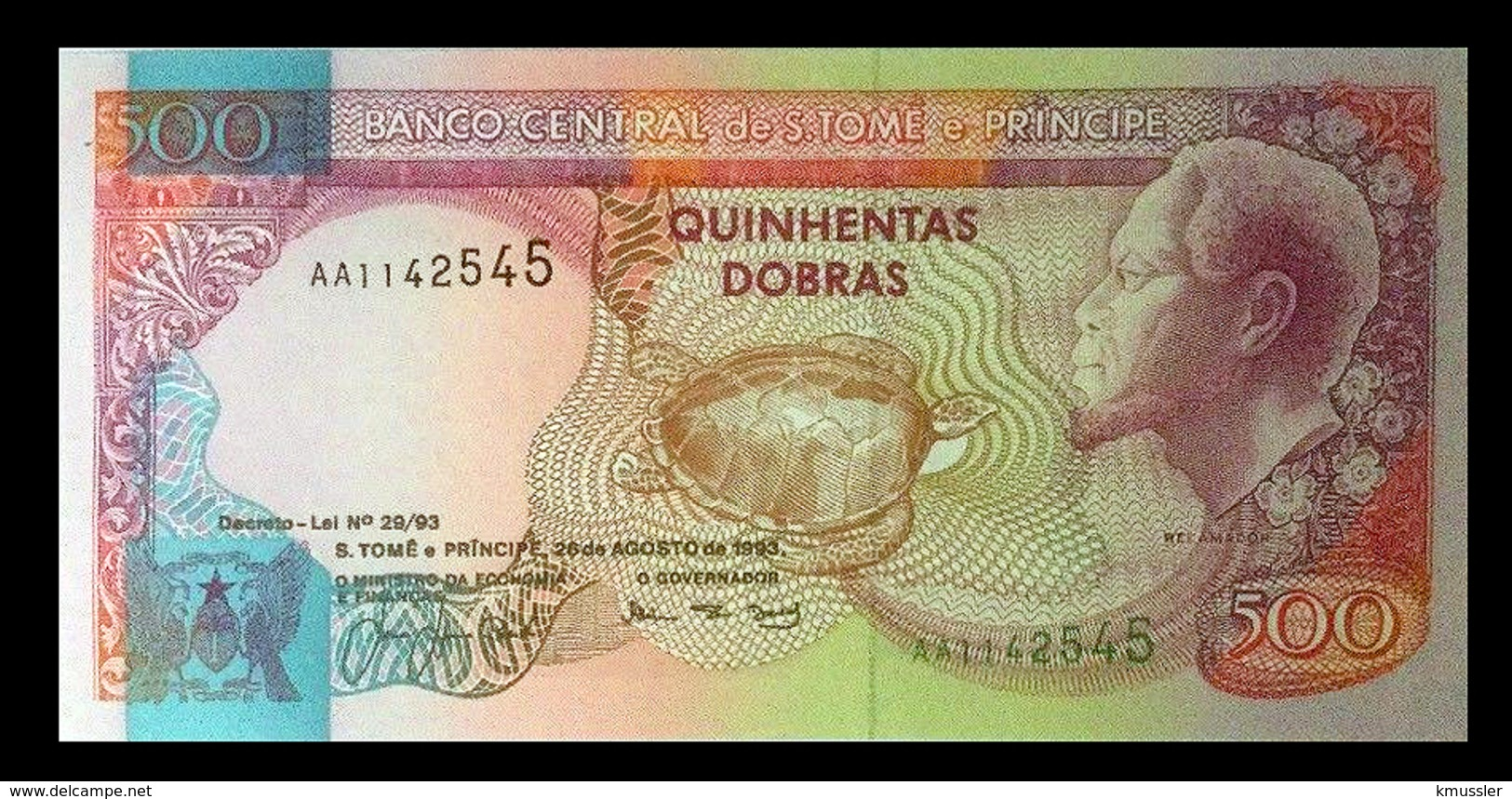 # # # Banknote Tome Und Principe 500 Dobras 1993 UNC # # # - São Tomé U. Príncipe