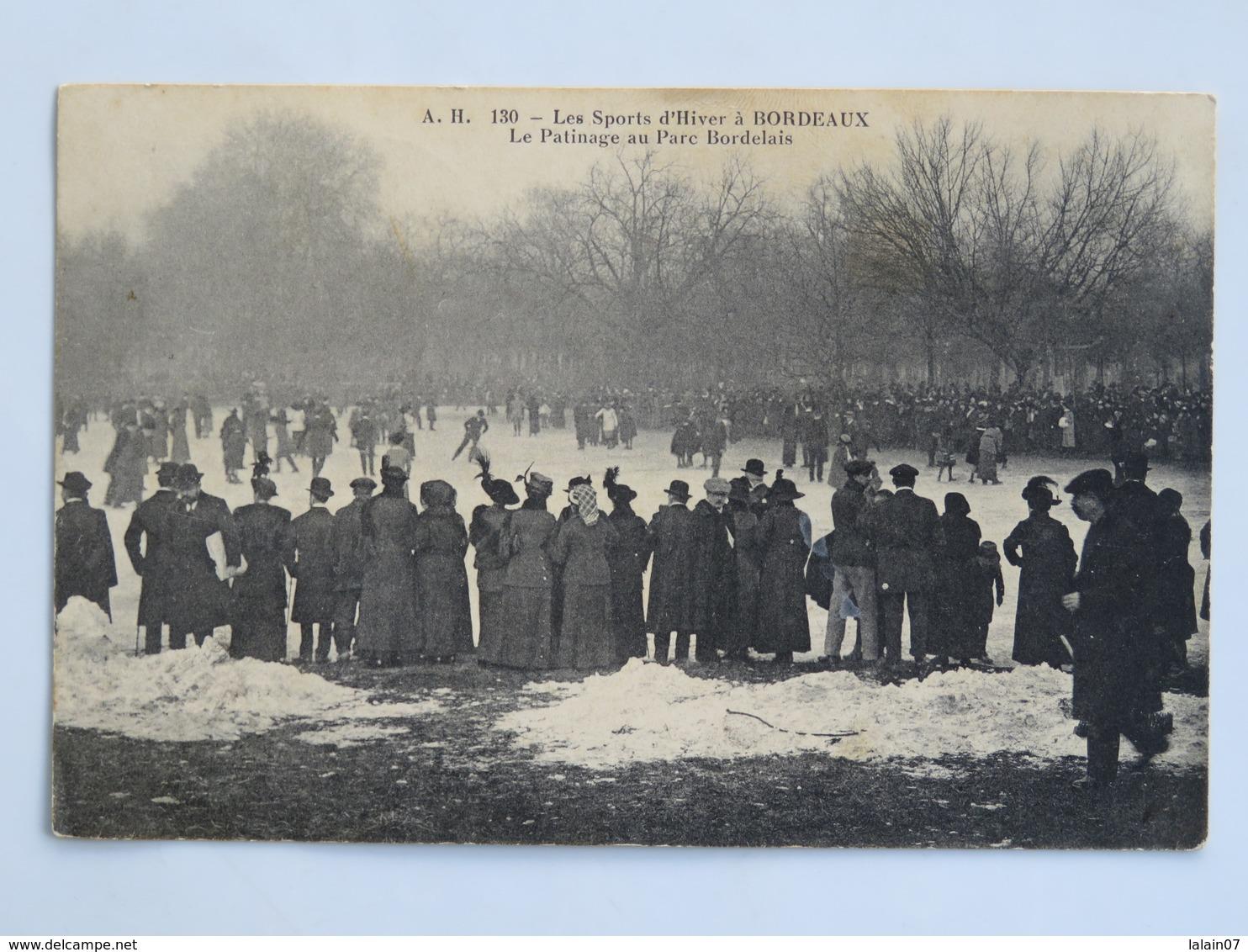 C. P. A. : 33 BORDEAUX : Les Sports D'Hiver: Le Patinage Au Parc Bordelais, Animé, En 1915 - Bordeaux