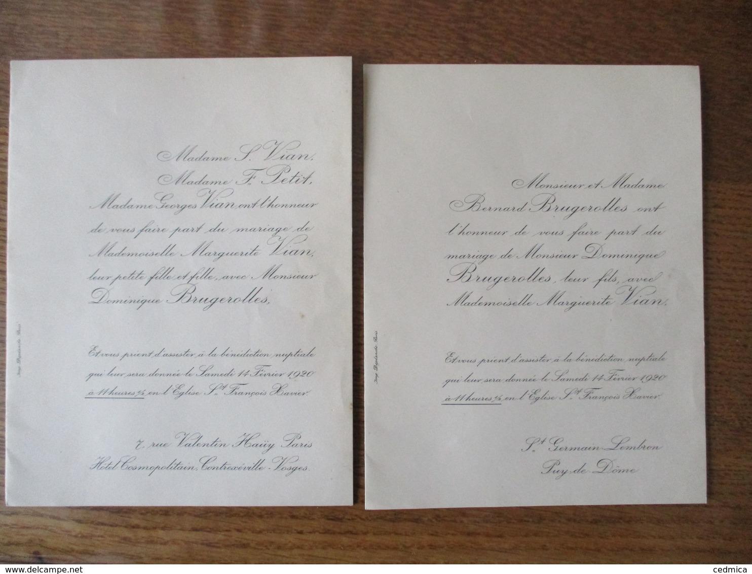 14 FEVRIER 1920 EGLISE St FRANCOIS XAVIER MADEMOISELLE MARGUERITE VIAN ET MONSIEUR DOMINIQUE BRUGEROLLES - Mariage