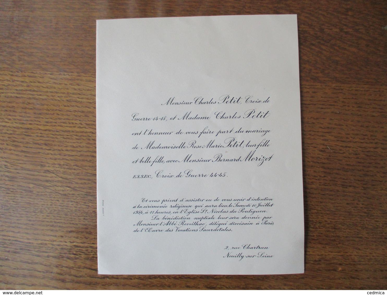 NEUILLY SUR SEINE 10 JUILLET 1954 MADEMOISELLE ROSE-MARIE PETIT AVEC MONSIEUR BERNARD MORIZOT CEREMONIE AU POULIQUEN EGL - Mariage