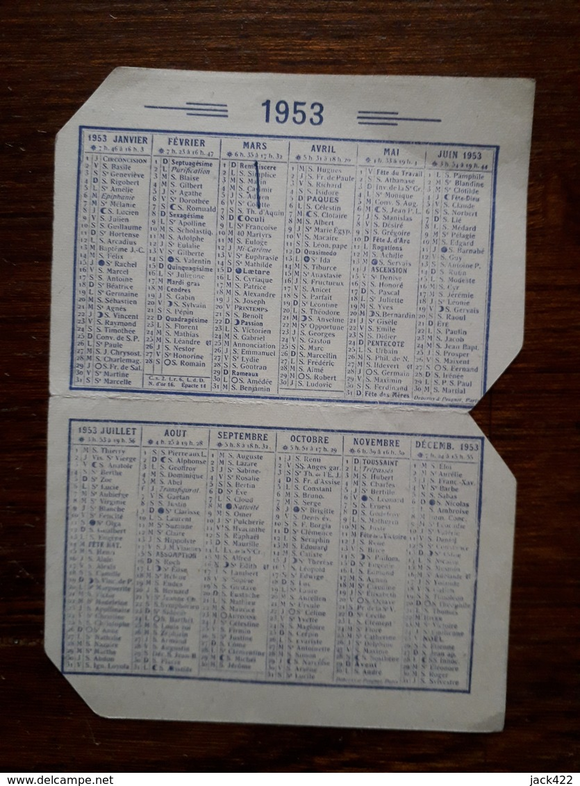 Mini Calendrier Publicitaire. 1953. Dragées Au Fidele Berger, Chocolats Lombart - Calendars