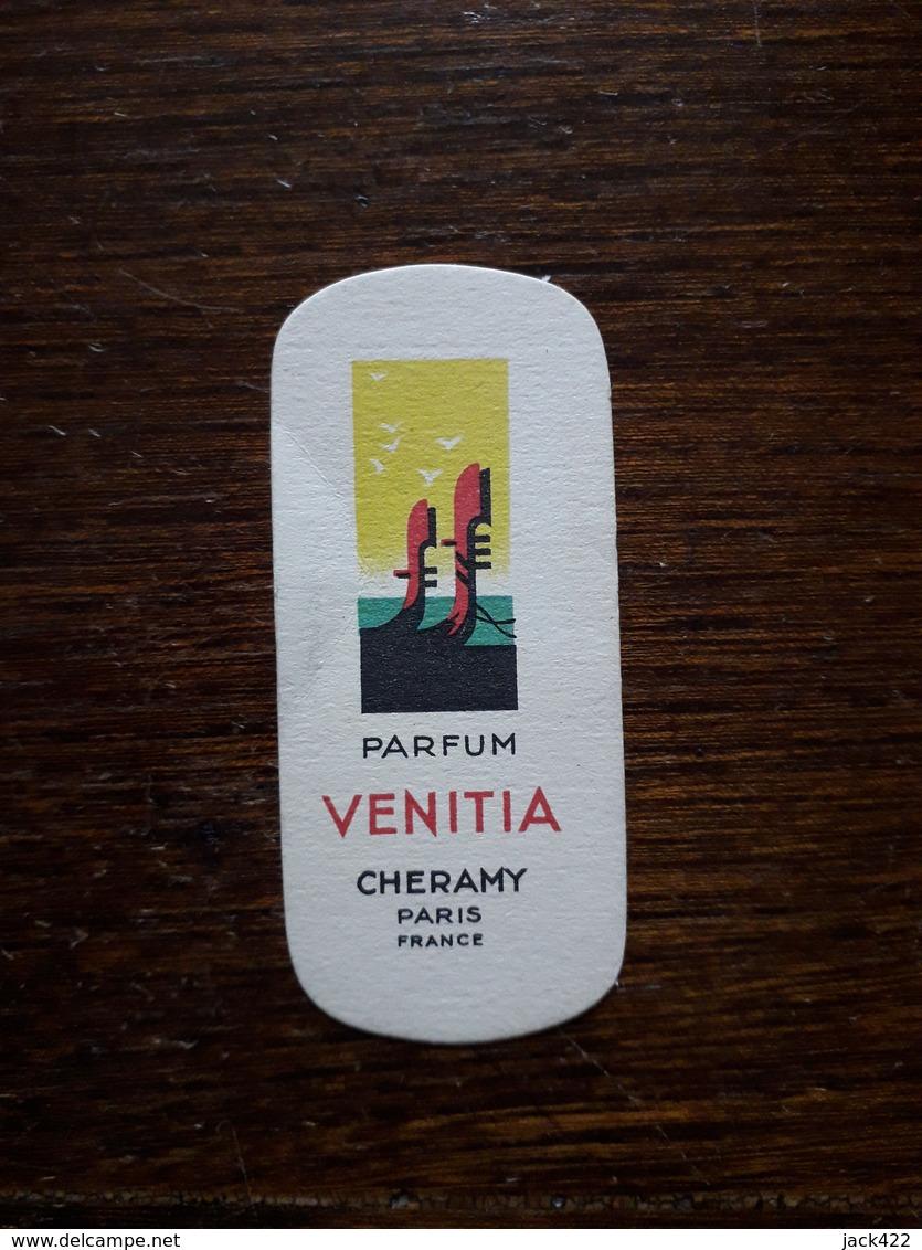 Petite Carte Publicitaire . Parfum Venitia. Cheramy. Paris - Perfume & Beauty