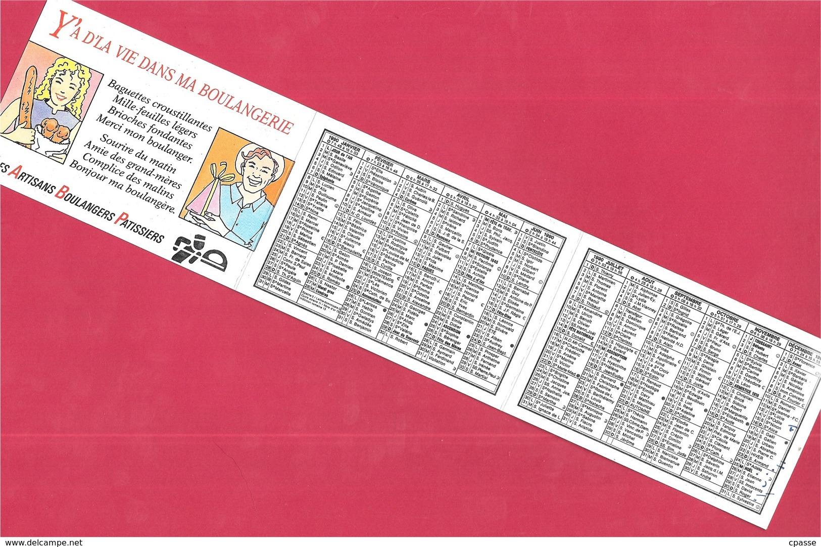 CALENDRIER Petit Format Dépliant (3 Volets) 1990 - Boulangerie Pâtisserie Jean-Yves PHILIPPE 29 QUIMPER ** Pain - Calendriers