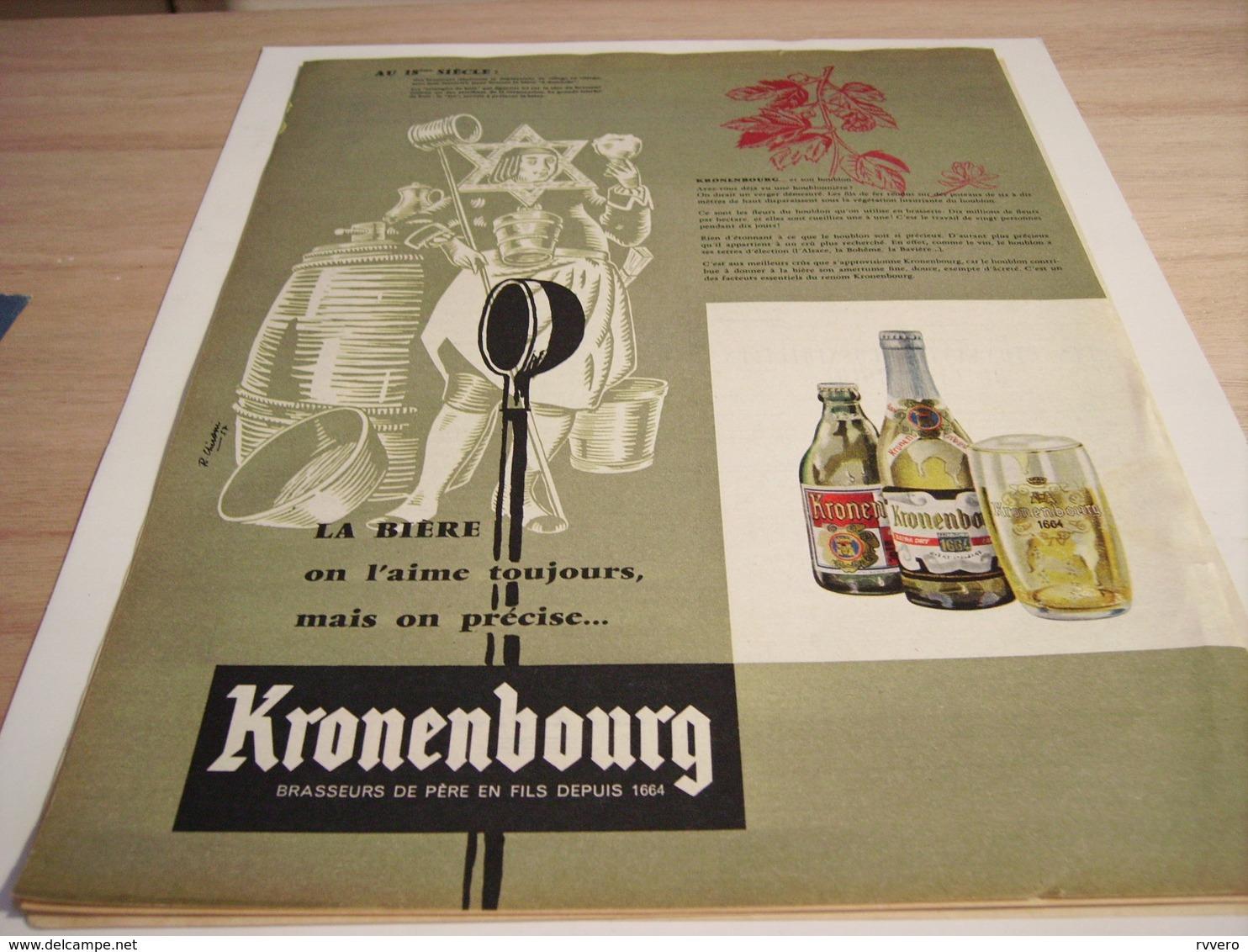 ANCIENNE PUBLICITE AU 18 SIECLES ON L AIME TOUJOUR  KRONENBOURG 1957 - Alcools