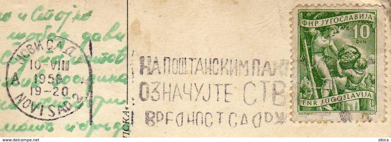 "Yugoslavia - Novi Sad 1958 Slogan/flamme ,,Na Postanskim Paketima Oznacujte Stvari Vrednost Sadrzaj"" Motive -post Office - 1945-1992 Repubblica Socialista Federale Di Jugoslavia"