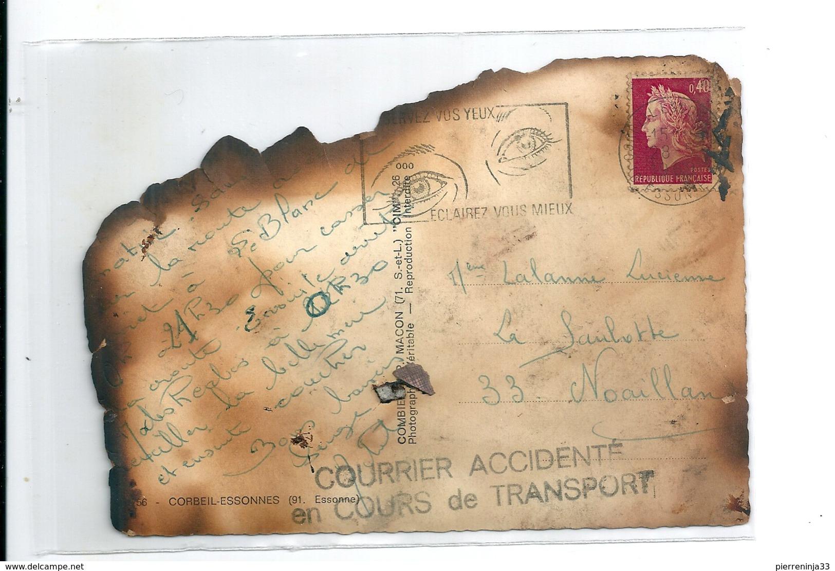 Courrier Accidenté En Cours De Transport Par La Poste / Carte De Corbeil Essonnes , 1969 - Variétés Et Curiosités