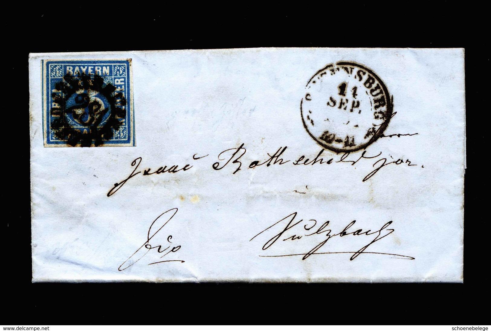 A6047) AD Bayern Brief 1854 ? N. Sulzbach M. EF 3 Kr. Blau - Bayern