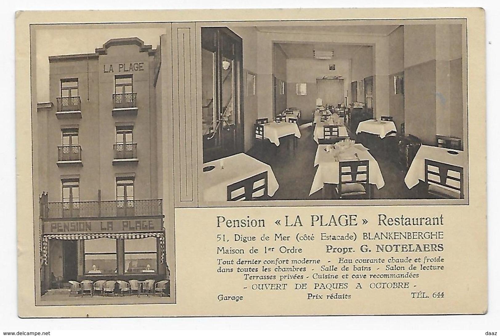 "Blankenberge Pension Restaurant  "" La Plage "" 1937 - Blankenberge"