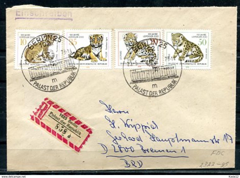 E25937)DDR FDC 2322 - 2325, Tiere - FDC: Briefe