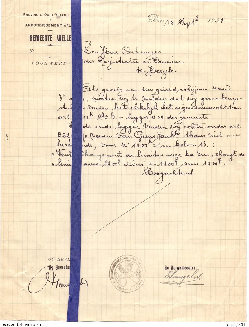 Brief Lettre - Burgemeester Langelet Gemeente Welle - Naar Kadaster 1932 + Brief Met Antwoord - Non Classés