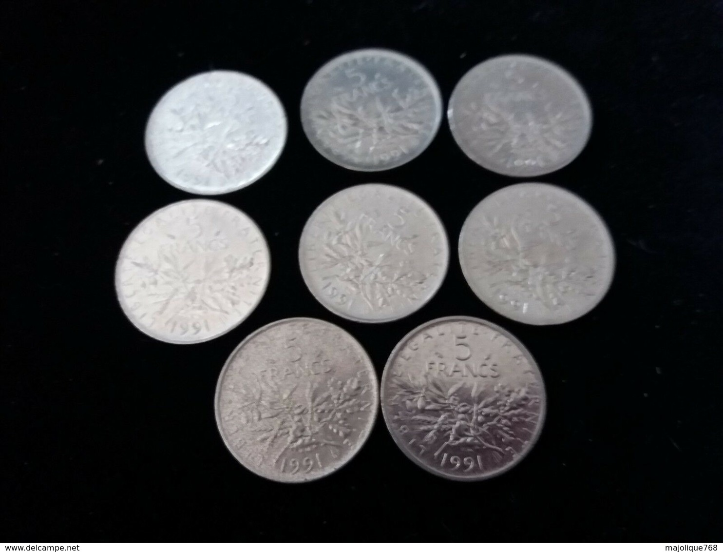 Lot De 8 Pieces De 5 Francs 1991 En TTB - France
