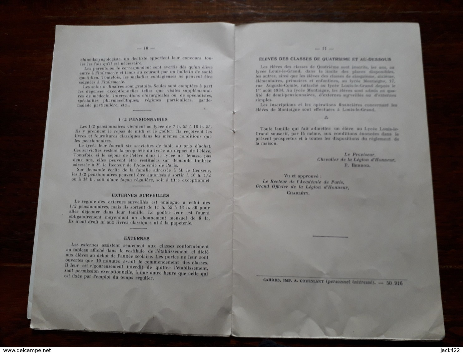 Prospectus Avec Lettre. Lycée Louis Le Grand. Paris. 1936 - Programs