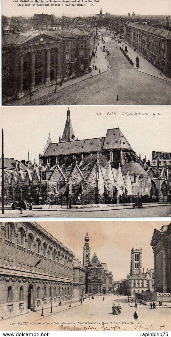 CPA 75005 Paris Mairie 5ème Arrondissement Rue Soufflot Eglise St Séverin Bibliothèque Sainte Geneviève Etienne Du Mont - Autres Monuments, édifices