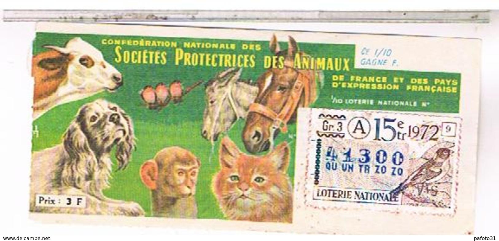 Billets De Loterie 1/10°    SPA  PINSON  1972 ........  LOTE23 - Billets De Loterie