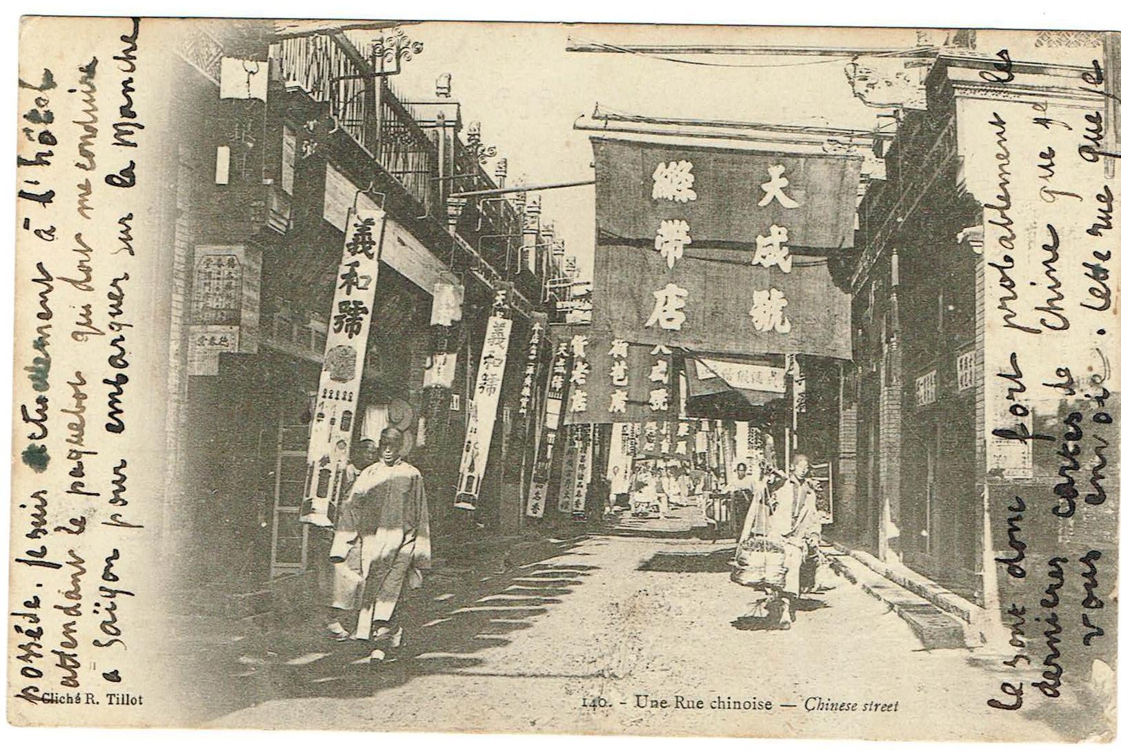 Chine Shangaï  Une Rue Chinoise. Animée, édit Tillet, Datée 1907. Tb état - Chine