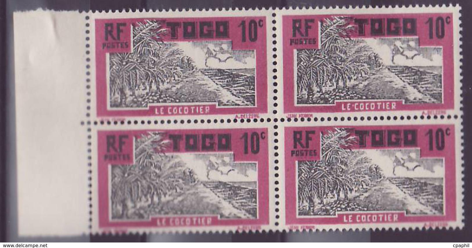 Togo N�65 10c Cocotier ** Bloc De 4 - Ungebraucht