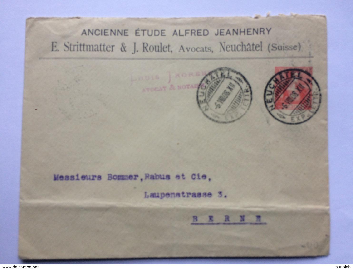 SWITZERLAND 1908 Cover Neuchatel To Berne - Louis Thorens Avocats - Switzerland