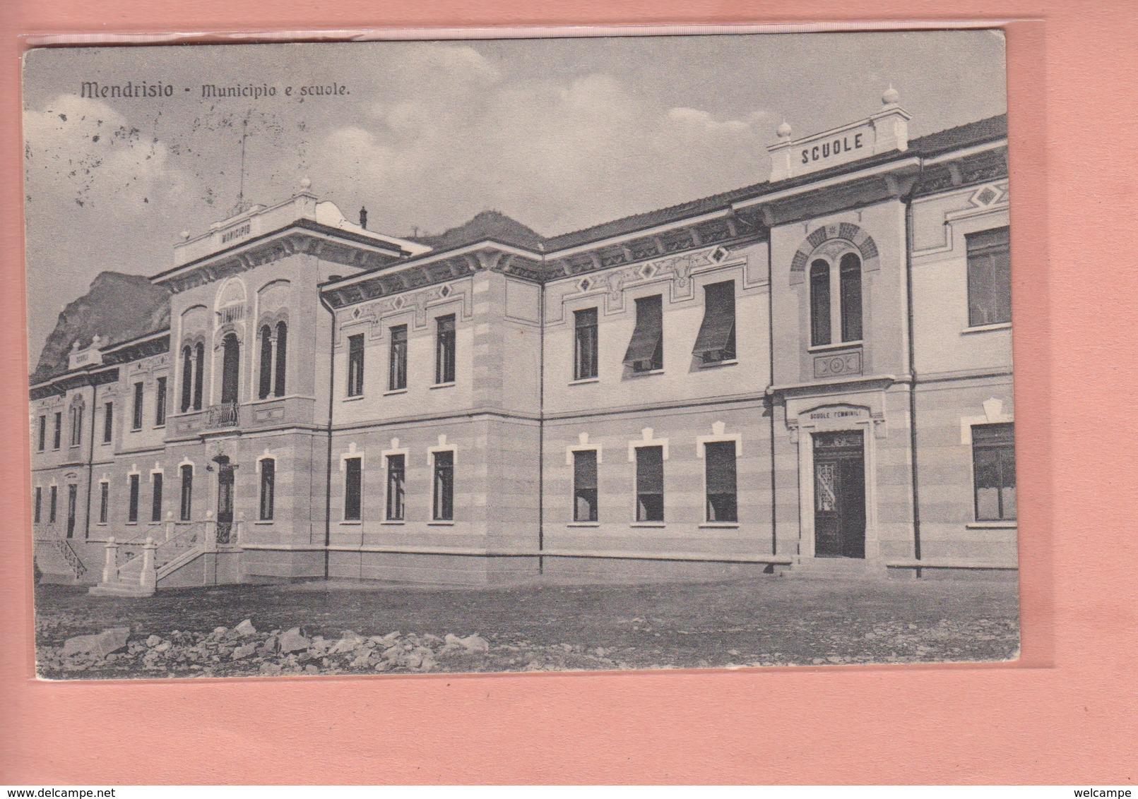 OUDE POSTKAART ZWITSERLAND - SCHWEIZ - SUISSE -  SVIZZERA - MENDRISIO - SUOLE  1908 - TI Tessin