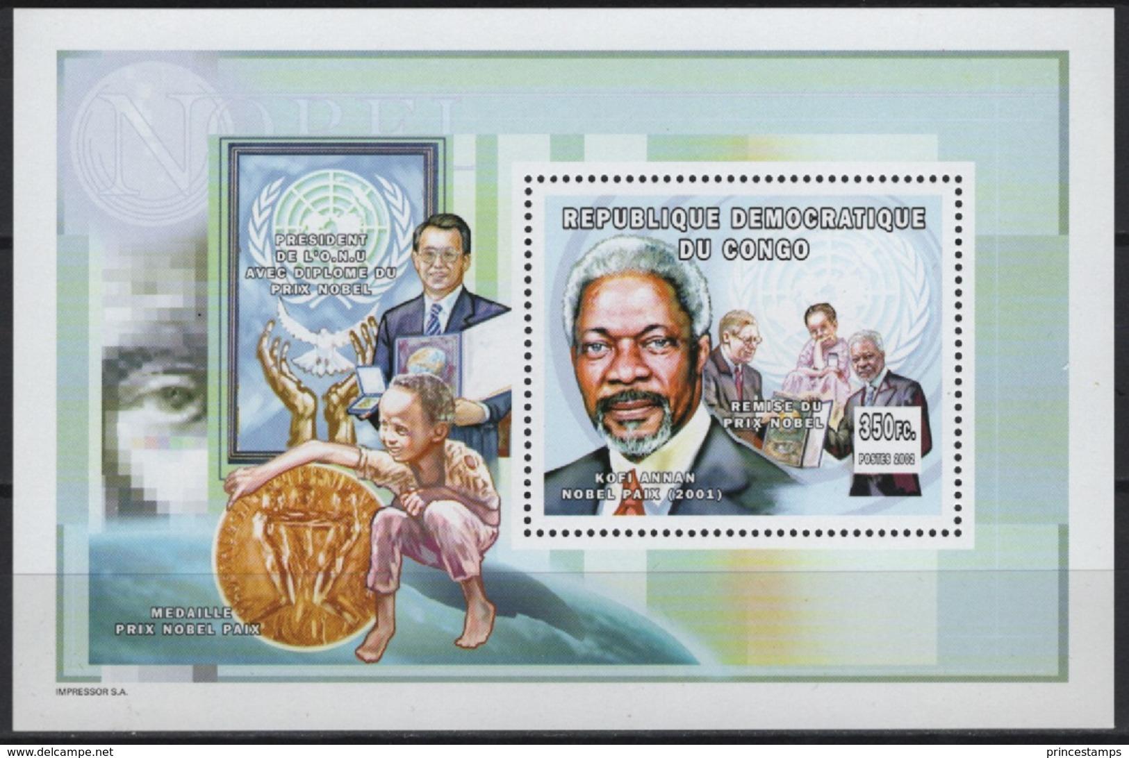 Congo (B) (2002) Mi. Bl. 143A  /  Nobel Prize - Kofi Annan - Nobelprijs