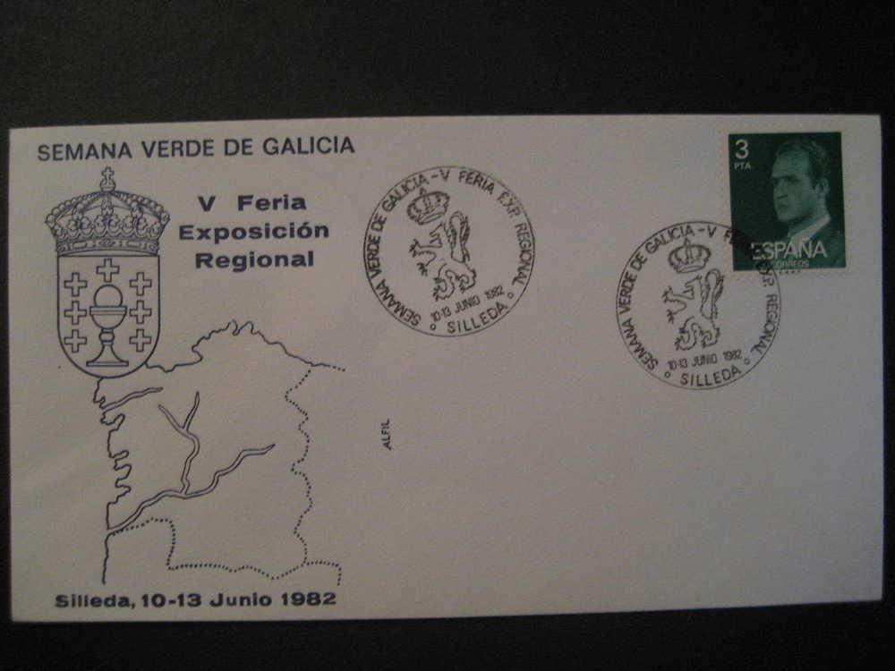 SILLEDA Pontevedra Galicia 1982 V Feria Expo Reg Semana Verde Leon Lion Matasellos Especial Sobre Cover Lettre - 1931-Hoy: 2ª República - ... Juan Carlos I