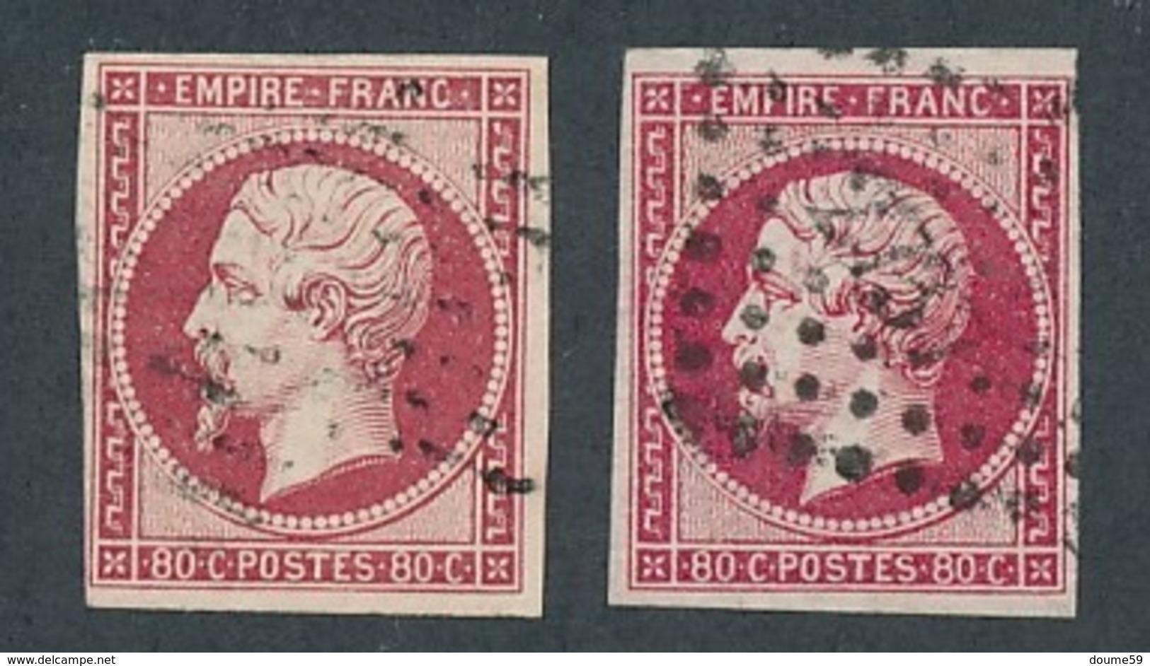 """N-411: FRANCE: Lot  """"NAPOLEON """" Avec N°17A-17B Obl - 1853-1860 Napoléon III"""
