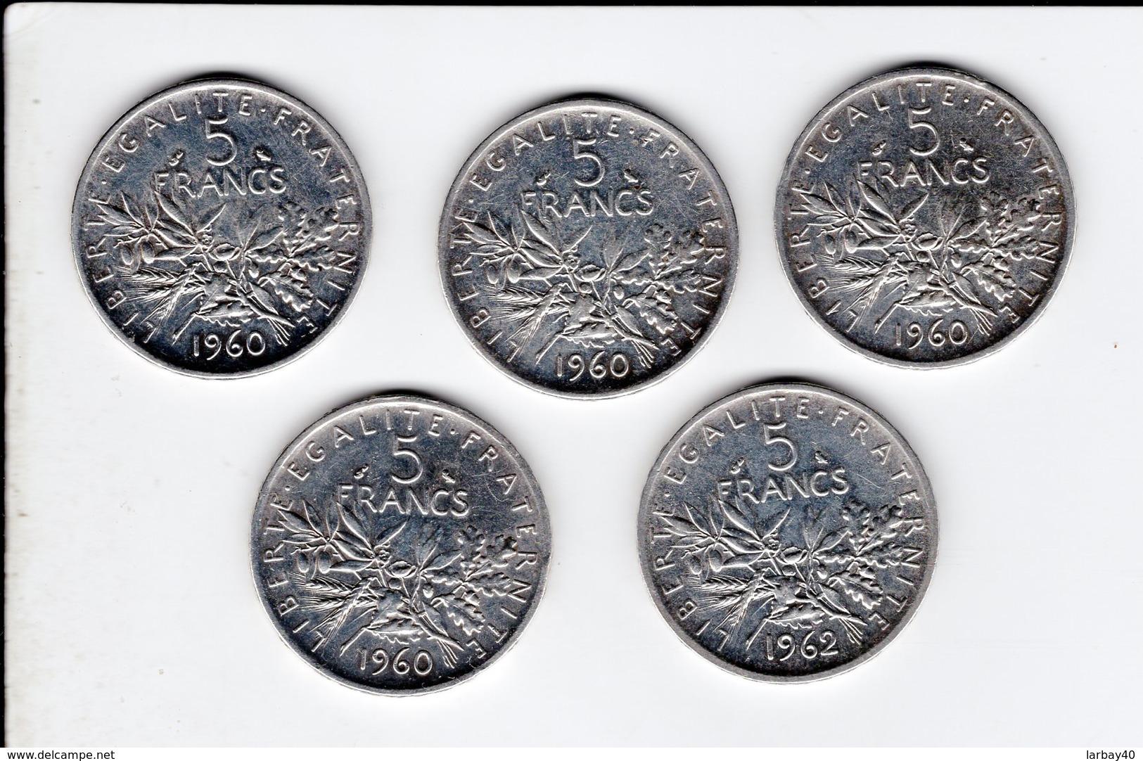 4 Pièces De 5 Francs 1960 Et Une De 1962 - France