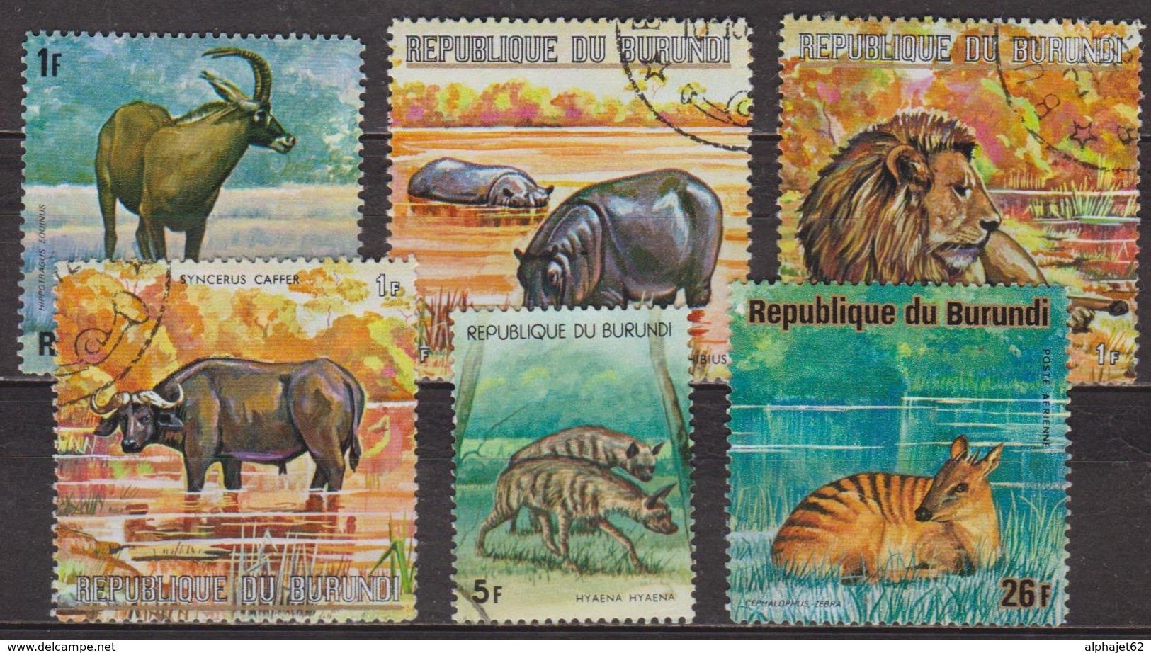 Faune Africaine  - BURUNDI - Animaux: Gazelle, HyènesHippopotame, Lion, Buffle  - 1972 - Burundi