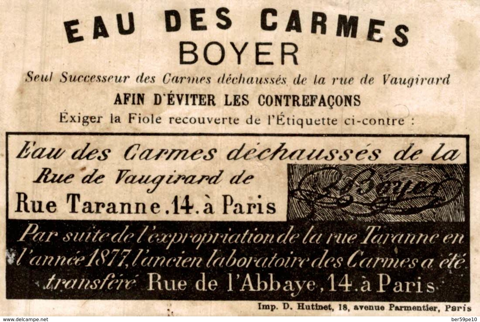 CHROMO EAUX DES CARMES PARIS  EVITER LES CONTREFACONS  D. HUTINET - Cromos