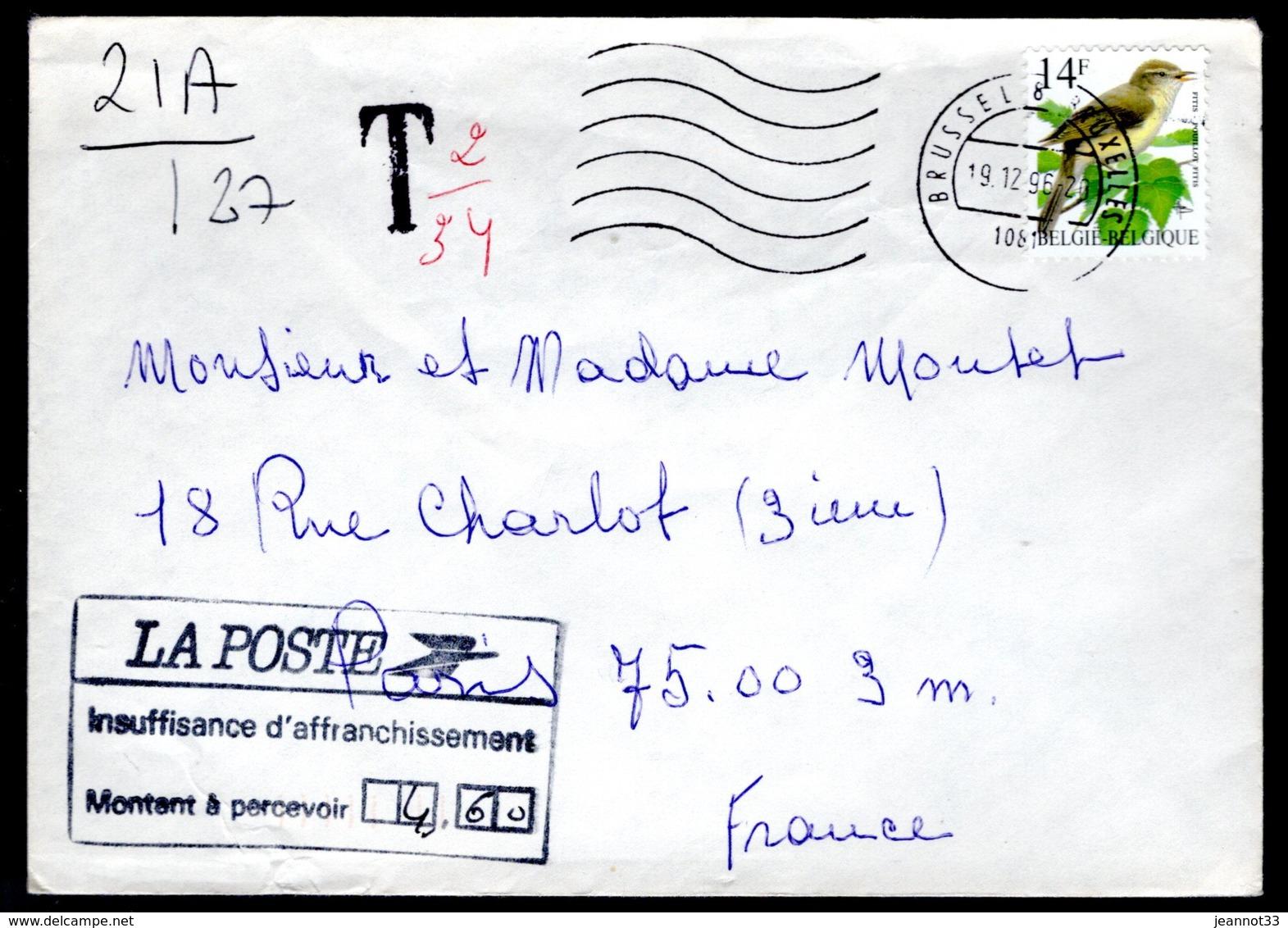 2623 Sur Lettre Expédiée Vers La France + Taxe - 1985-.. Oiseaux (Buzin)