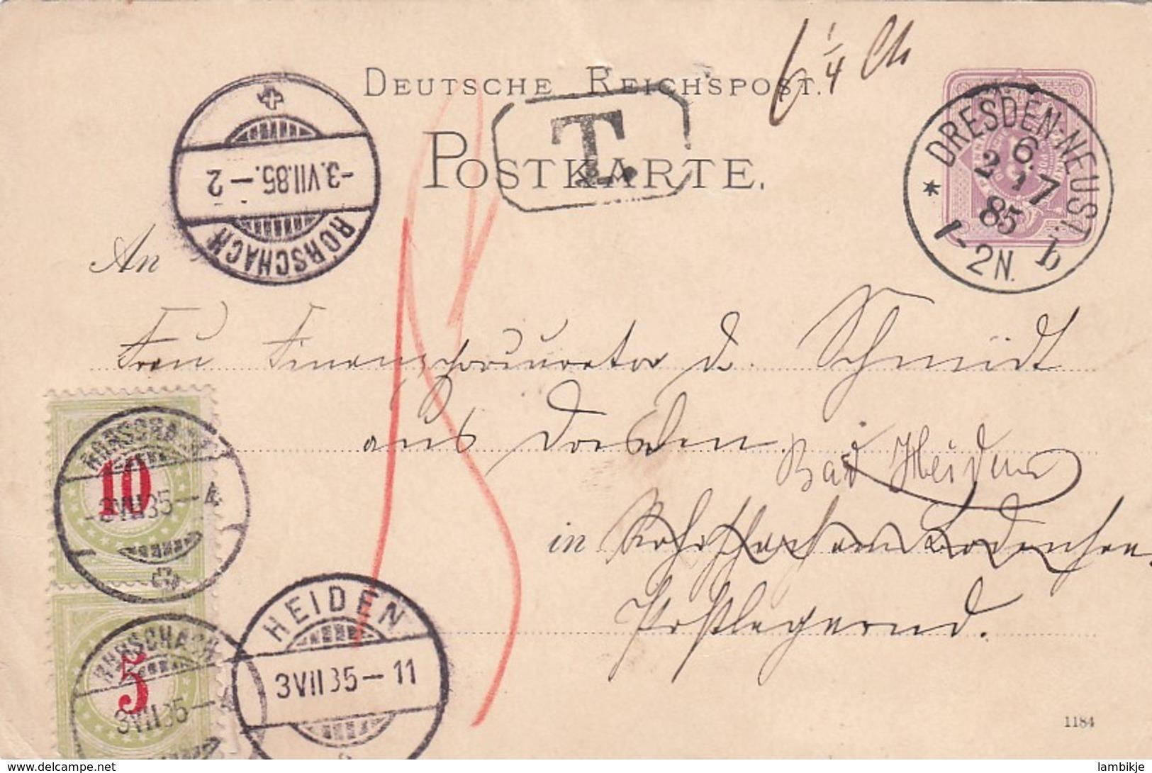Schweiz Postkarte 1885 Porto - Gebraucht