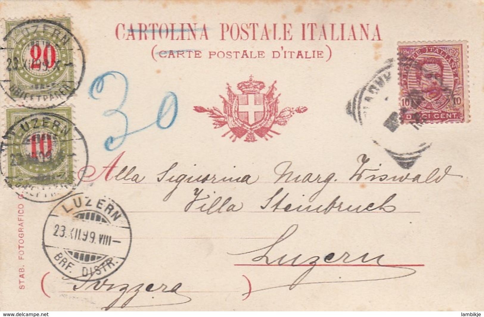 Schweiz Postkarte 1899 Porto - 1882-1906 Wappen, Stehende Helvetia & UPU