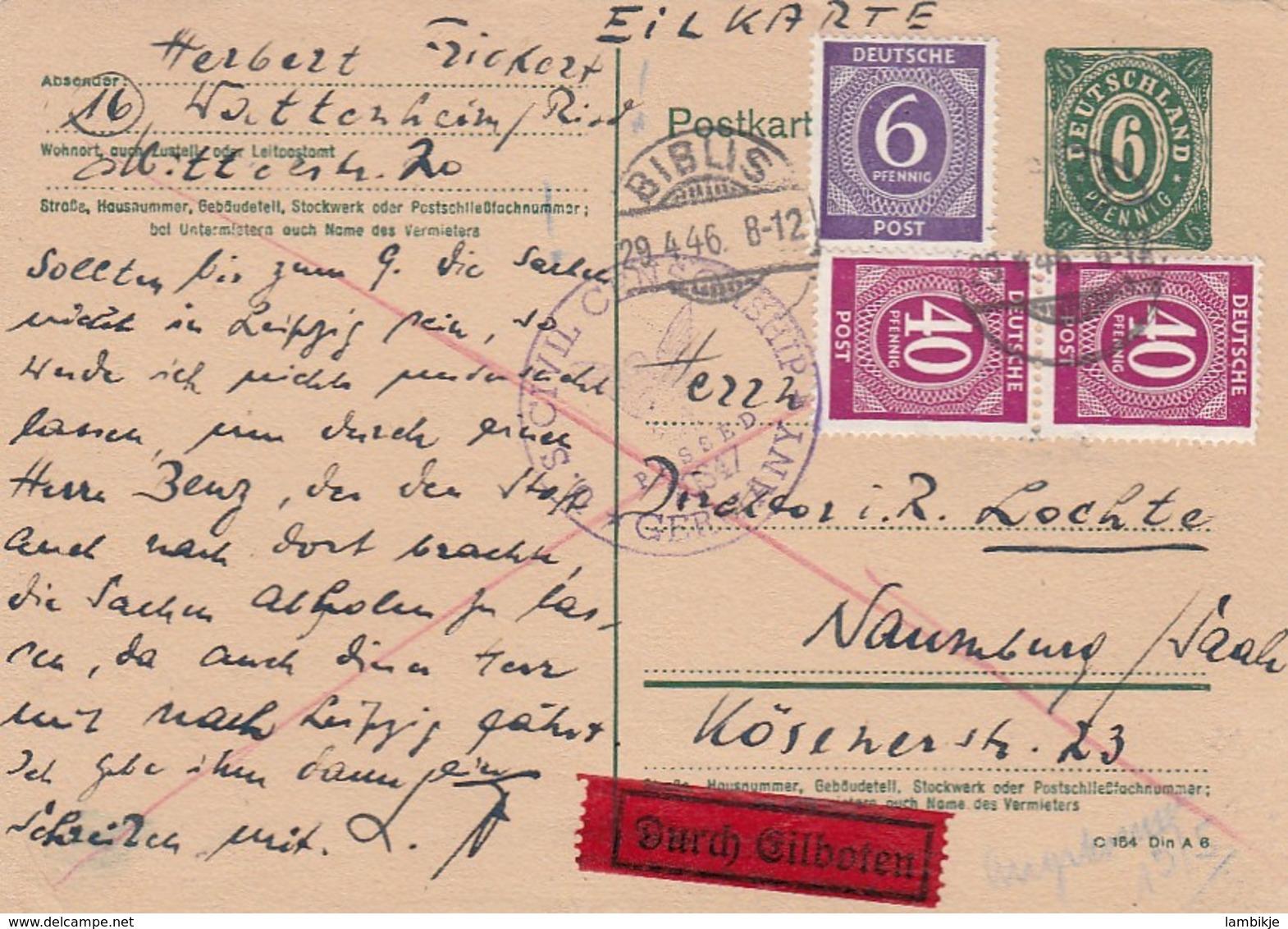 Allierter Besetzung Postkarte 1946 - Allemagne
