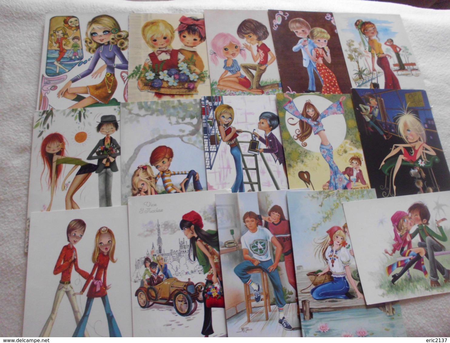LOT DE 15 ILLUSTRATIONS SIGNEES....JEUNES...ADOS...COUPLES - 5 - 99 Postcards