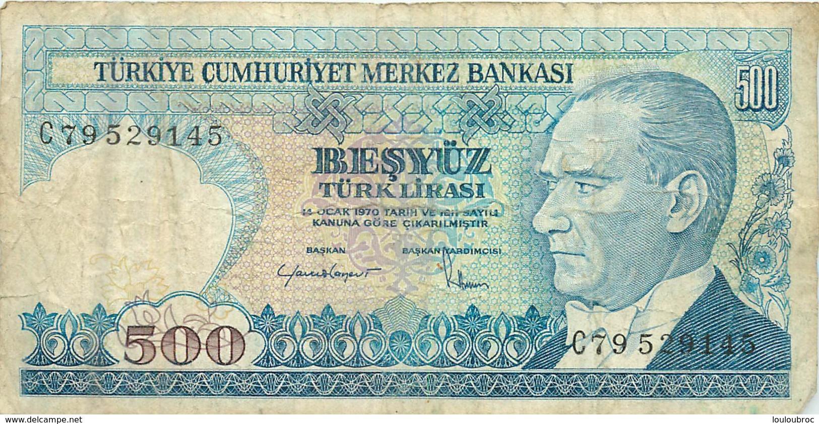 BILLET TURKIYE  500  BANKASI - Turchia