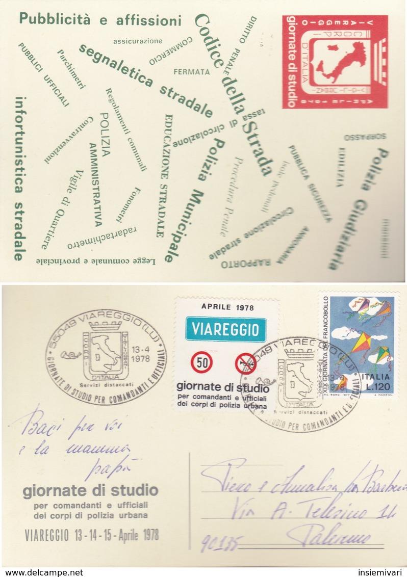 ITALIA REP. 1978 - CARTOLINA VIAREGGIO :GIORNATE DI STUDIO PER COMANDANTI E UFFICIALI CORPI POLIZIA URBANA. - 6. 1946-.. Repubblica