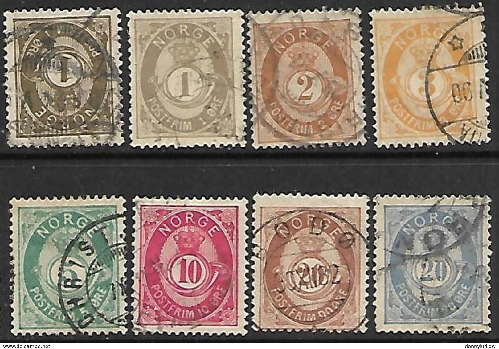 Norway   1882-93   Sc#35-40, 43-4    8 Diff Used    2016 Scott Value $102 - Noruega