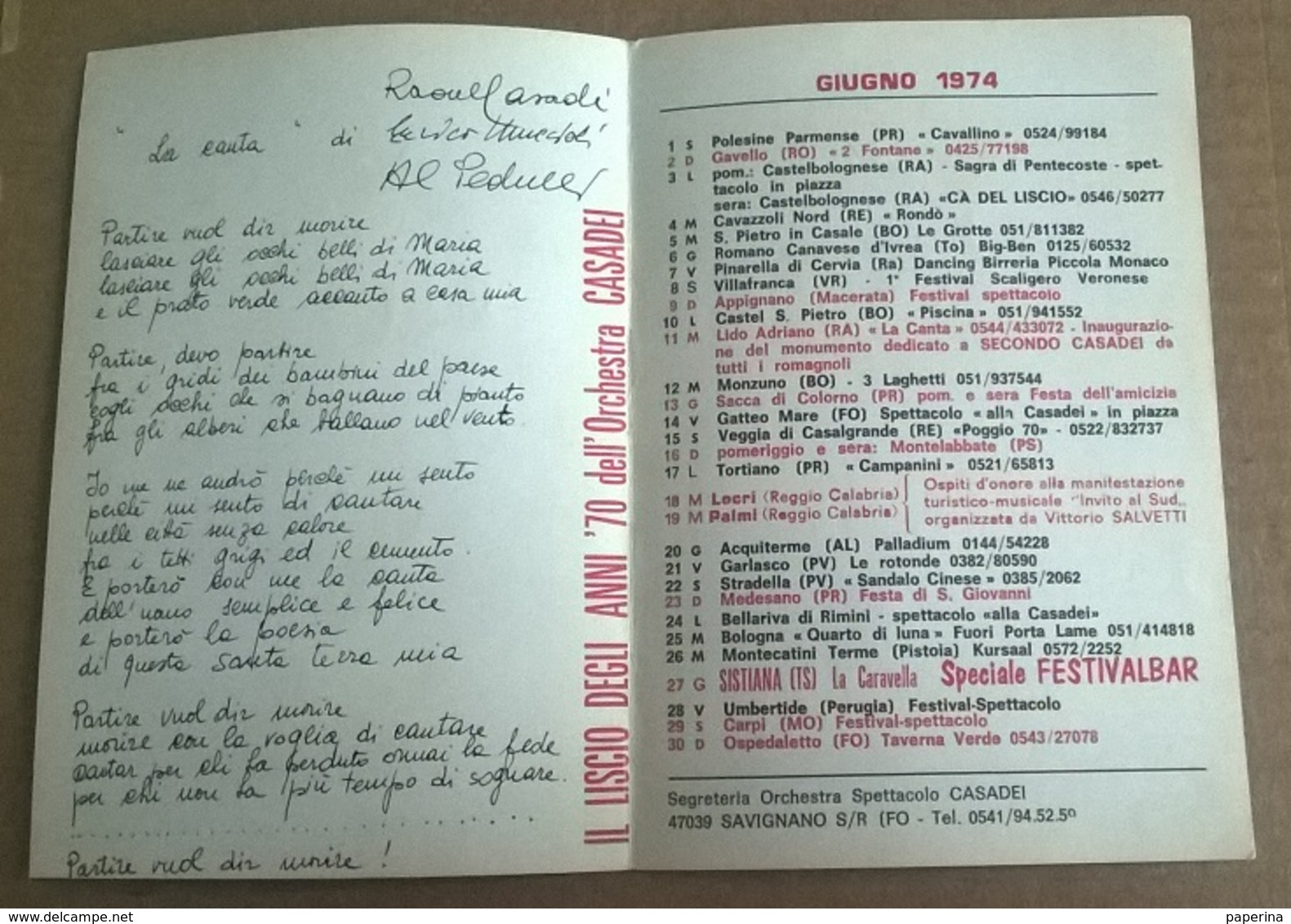 ORCHESTRA SPETTACOLO CASADEI  1974   (88) - Altri Oggetti