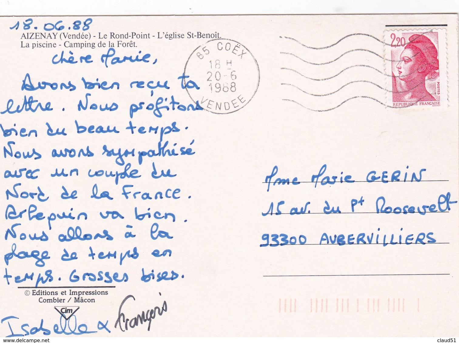 Azenay (85) Le Rond-point/ L'Eglise St. Benoit/ La Piscine / Camping De La Forêt - Aizenay