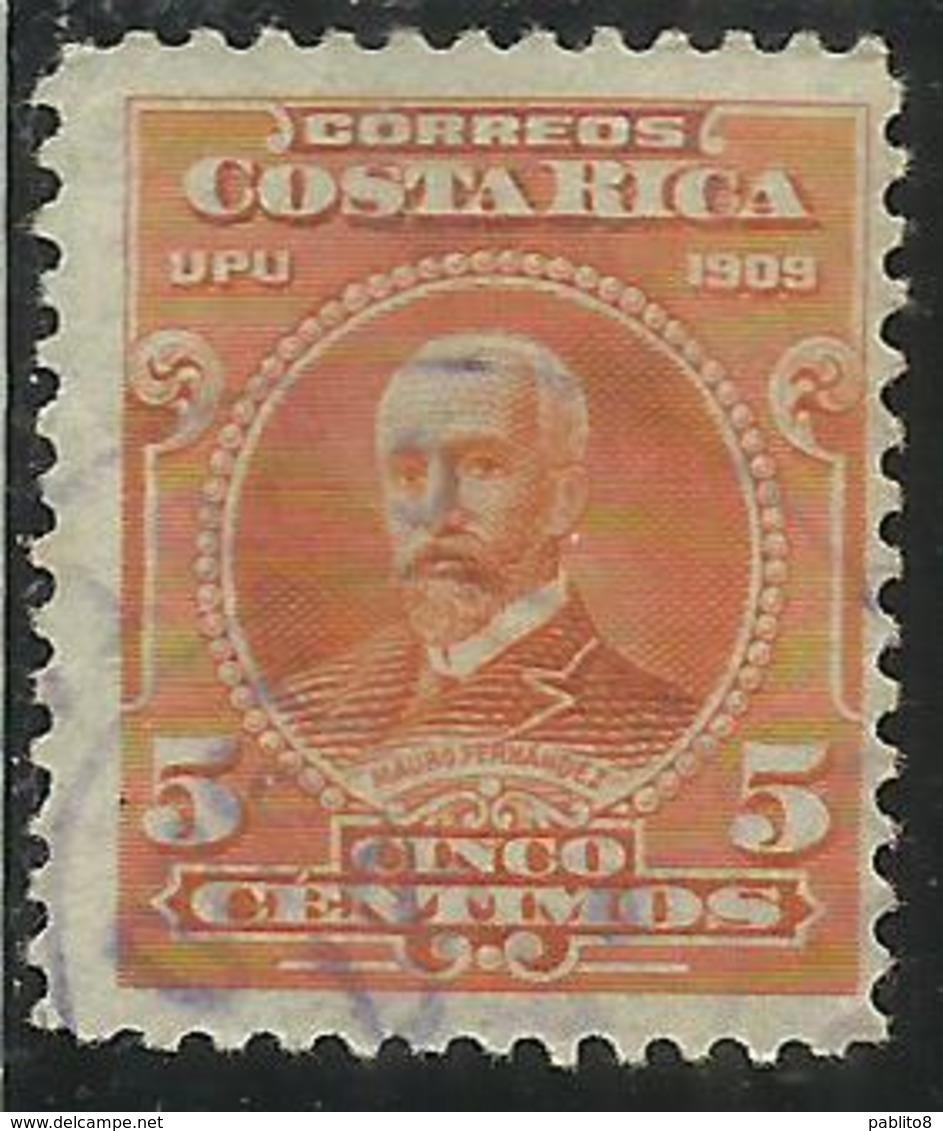 COSTA RICA 1910 UPU 1909 MAURO FERNANDEZ CENT 5c USATO USED OBLITERE' - Costa Rica