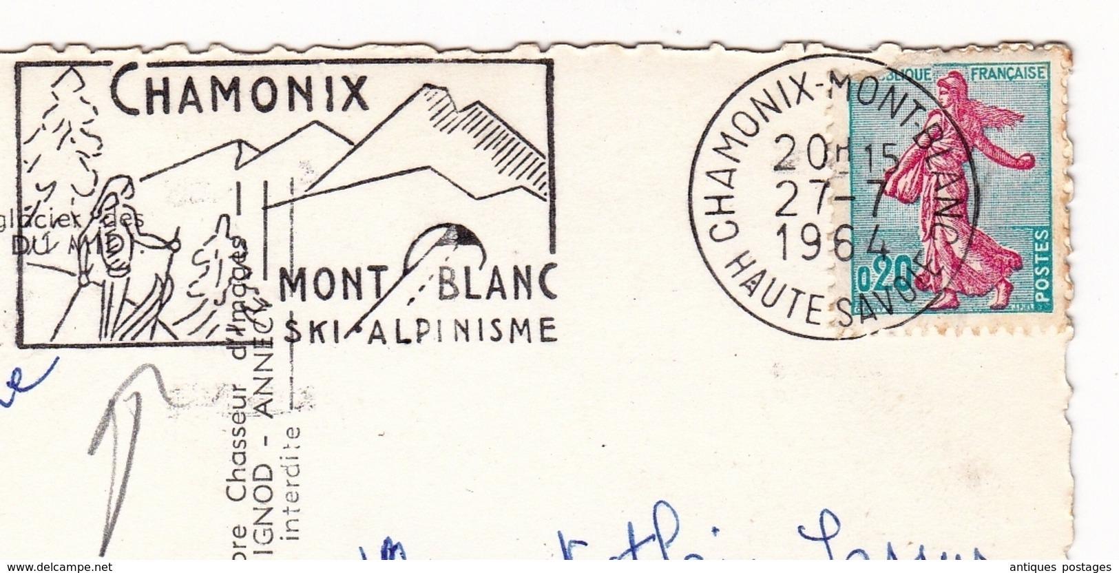 Carte Postale Aiguille Du Midi Alpes Chamonix Mont Blanc 1964 Haute Savoie Ski Alpinisme - Frankrijk