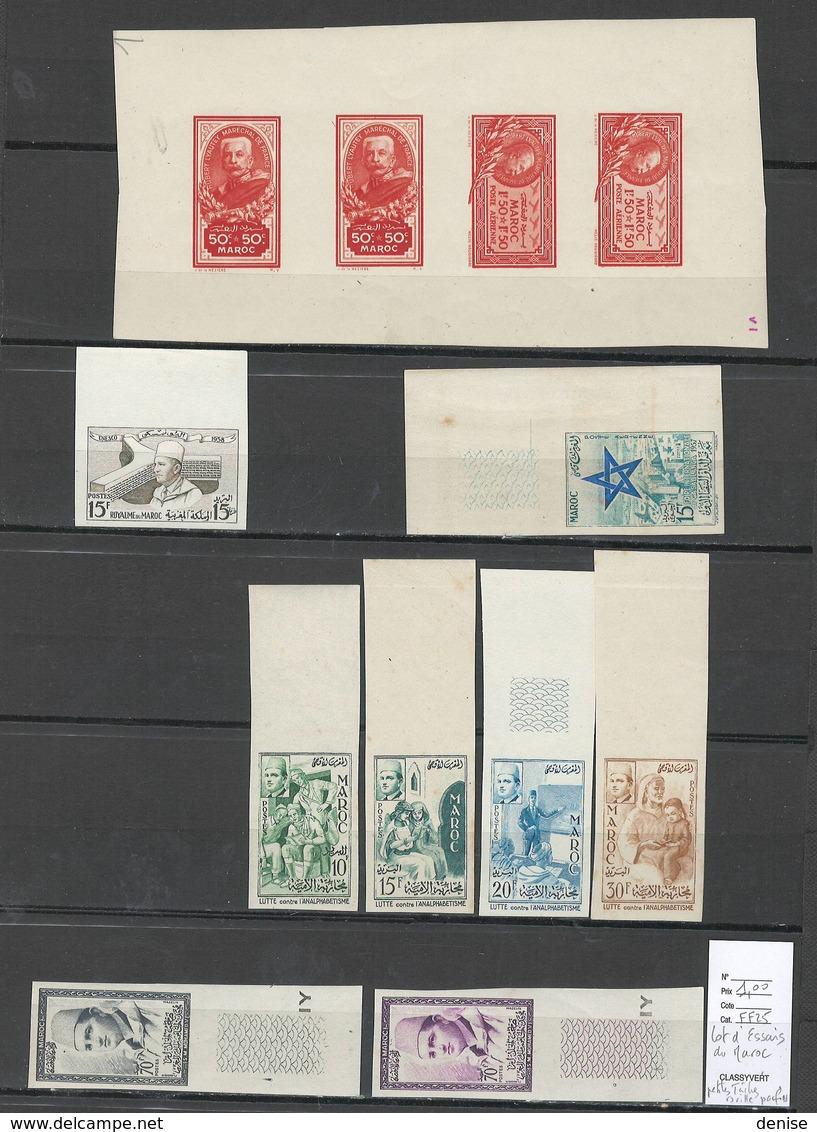Maroc - Essais Gommés Ou Non - 9 Piéces - MISE EN VENTE 1 EURO - Maroc (1891-1956)