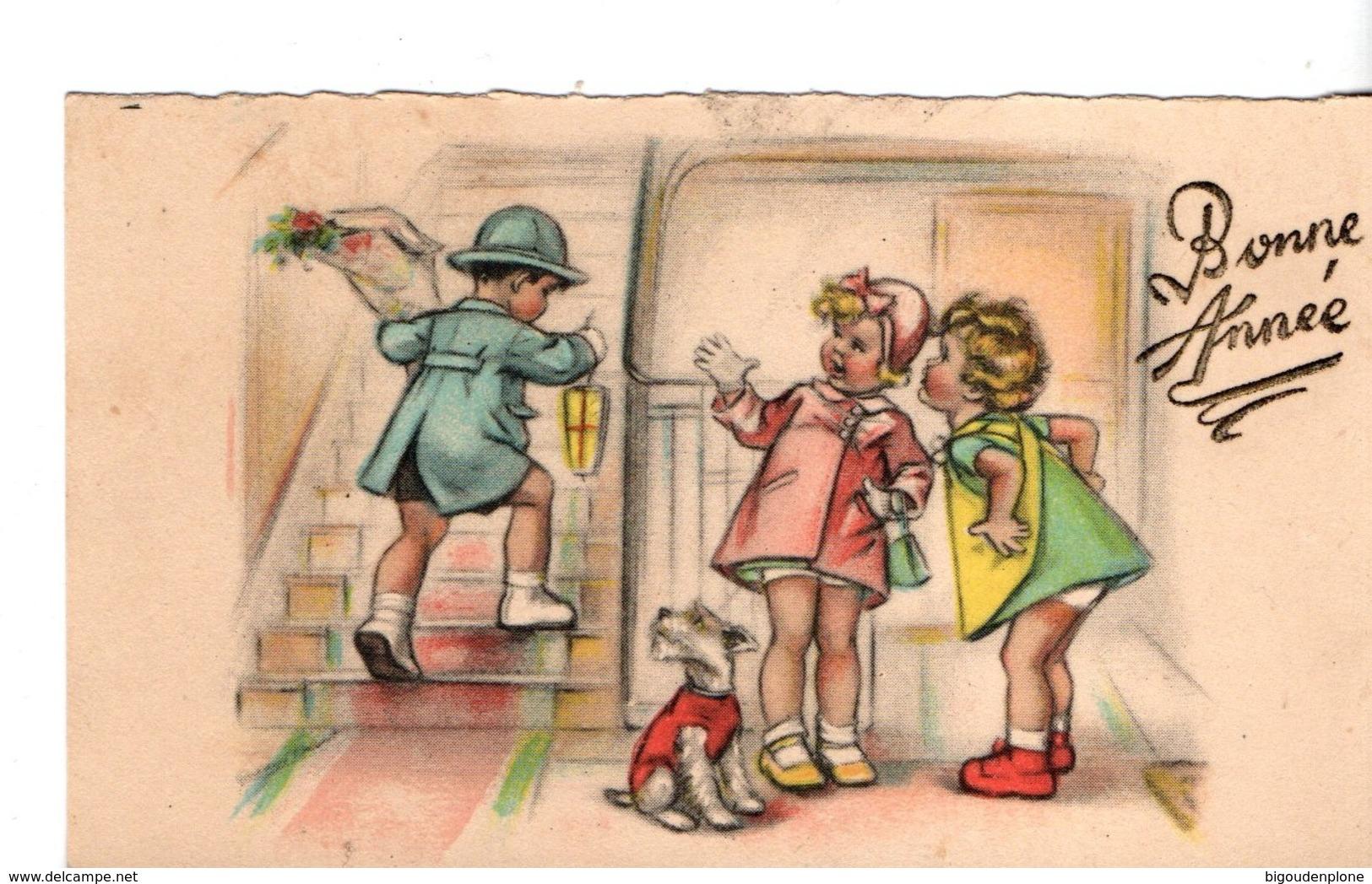 Mini Carte Postale Bonne Année Illustrée Par Germaine Bouret Sans Sa Signature - Bouret, Germaine