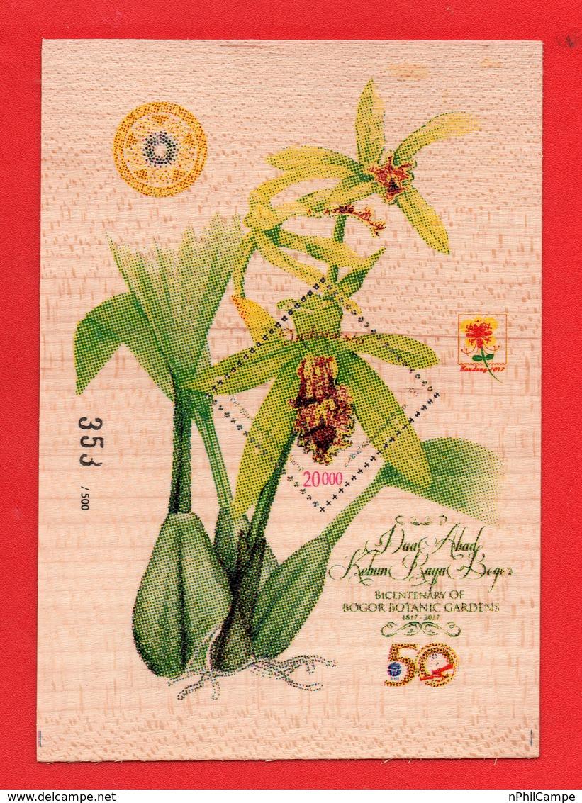 Indonesia-2017-Wood-Wooden-S-SH-MNH-Orchids-Bogor-Botanic-Garden-353/500-RARE - Indonesien