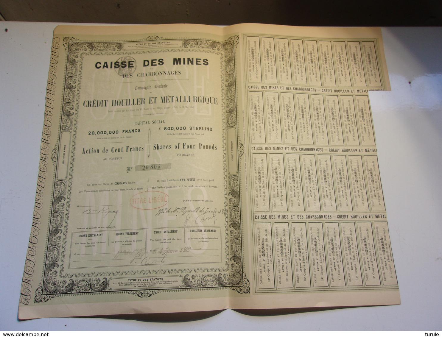 CAISSE DES MINES Et Des Charbonnages (1856) - Aandelen