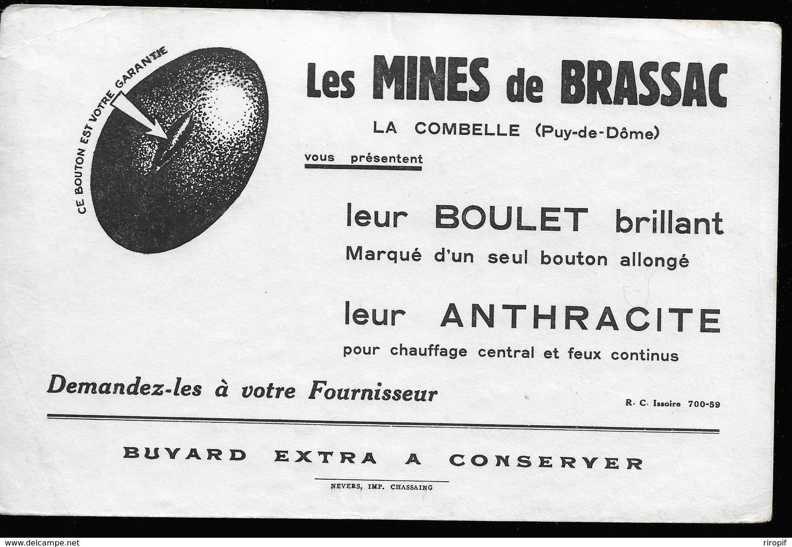 Les MINES  De BRASSAC  Leur Boulet Brillant - Buvards, Protège-cahiers Illustrés