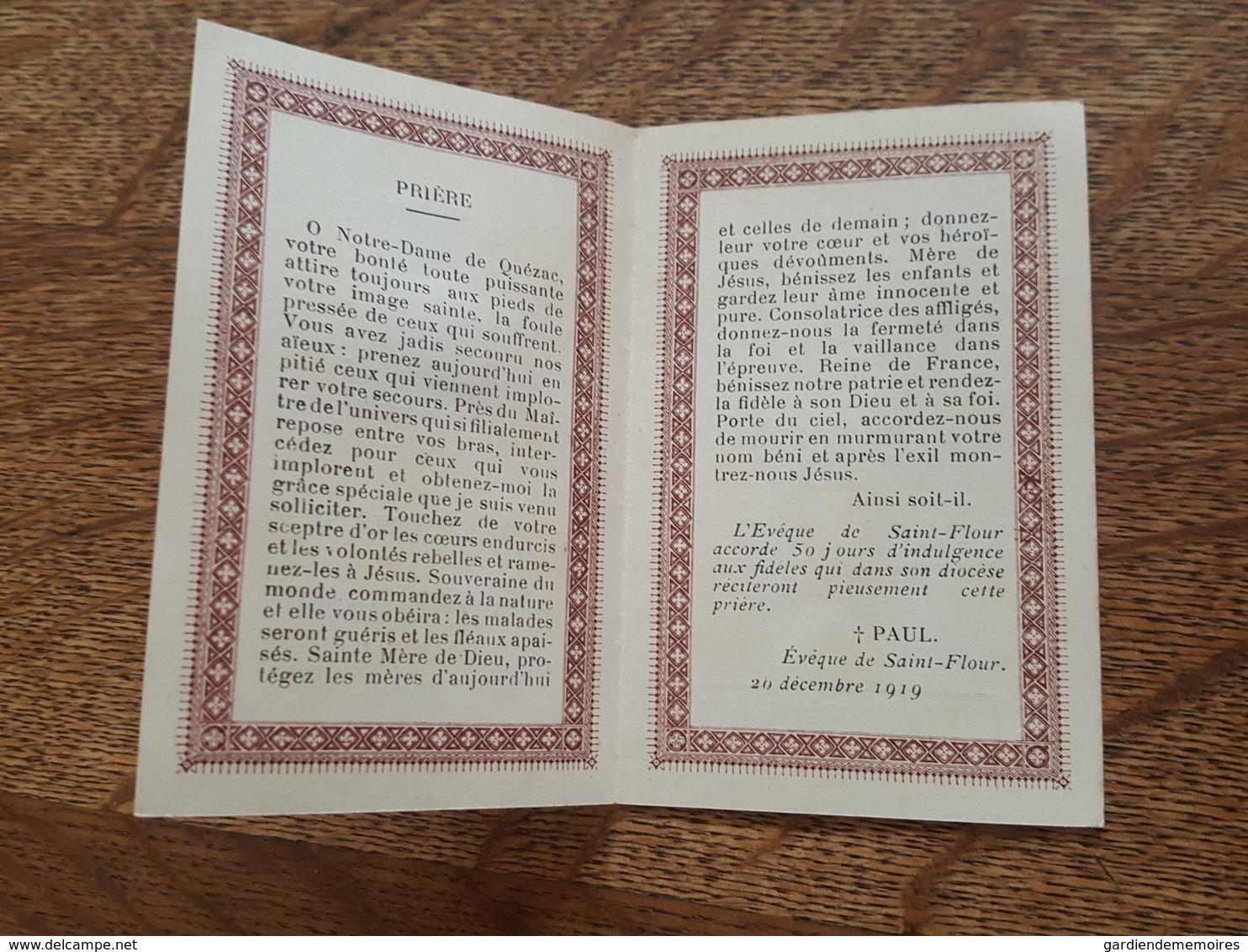 1919 Souvenir De Pèlerinage A Notre Dame De Quézac (Cantal) - Paul, Evèque De Saint Flour - Altri Comuni